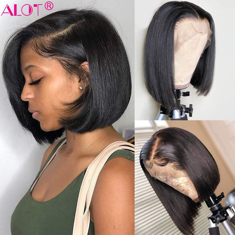 Short Straight Bob Wigs For Women Brazilian Lace Front Human Hair