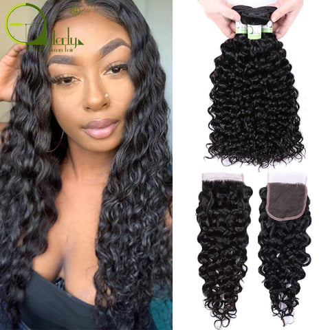 Remy Human Hair Bundles With Closure Brazilian Hair Weave Bundles With Closure