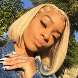 Short Bob  Human Hair Wigs Brazilian Straight Blondle