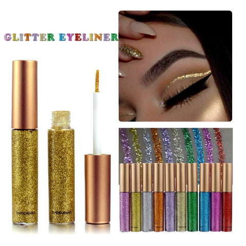10 Colors White Gold Glitter For Easy to Wear Waterproof Liquid Eyeliner Beauty Eye Liner Makeup