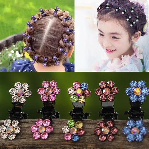 12pcs/pack Crystal Rhinestone Flower Hair Claw Hairpins Hair Accessories
