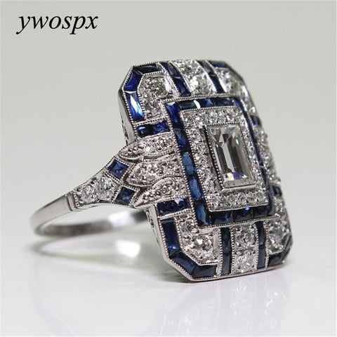 Luxury Silver Big Square Rings for Women Jewelry