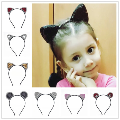 11colors of fashion hairband girl sexy sequins cat ears cat hair accessories