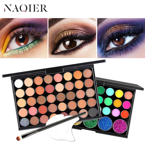 NAQIER Eye Makeup Nudes glitter powder Eye Shadows  brush set stamps pigment