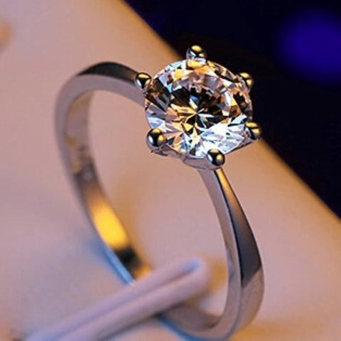 Manufacturer wholesale six claw gold ring Austria crystal zircon ring