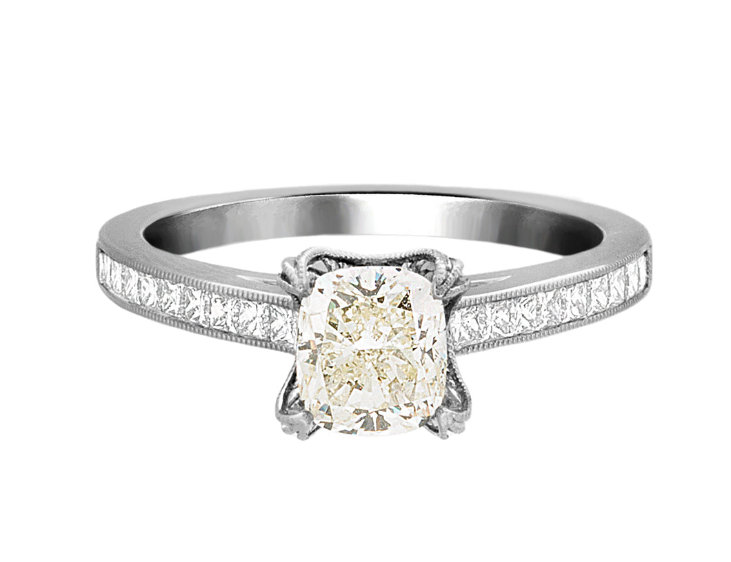Complete Rings White Gold with 0.99 CTW Cushion Diamond Diamond Center Stone Classic Engagement Ring
