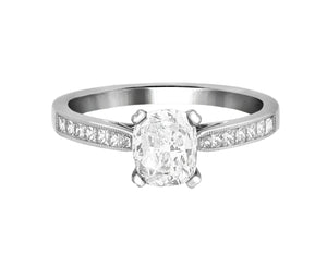 Complete Rings White Gold with 1 CTW Cushion Diamond Diamond Center Stone Classic Engagement Ring