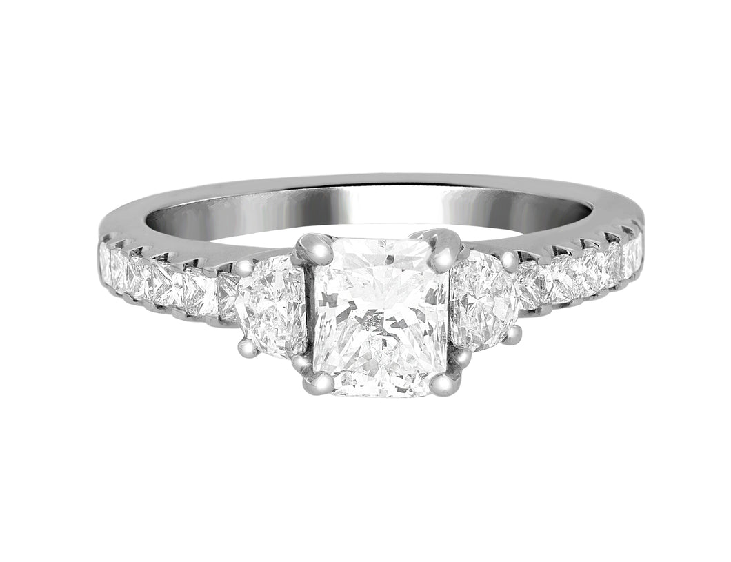 Complete Rings White Gold with 1 CTW Radiant Diamond Diamond Center Stone Classic Engagement Ring
