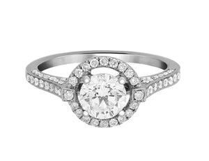 Complete Rings White Gold with 0.83 CTW Round Diamond Diamond Center Stone Halo Engagement Ring
