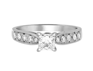 Complete Rings White Gold with 0.6 CTW Princess Diamond Diamond Center Stone Classic Engagement Ring