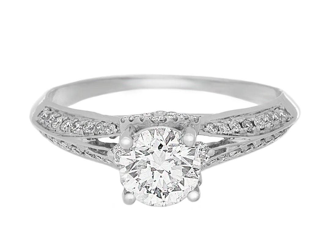 Complete Rings White Gold with 0.72 CTW Round Diamond Diamond Center Stone Classic Engagement Ring