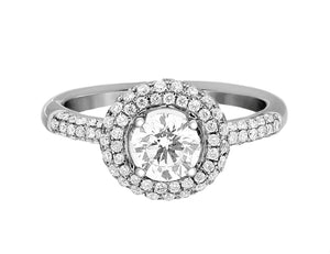 Complete Rings White Gold with 0.7 CTW Round Diamond Diamond Center Stone Halo Engagement Ring