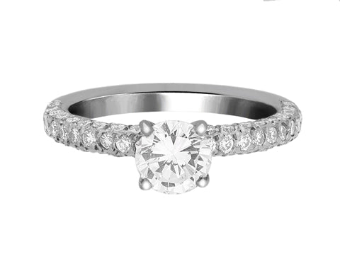 Complete Rings White Gold with 0.7 CTW Round Diamond Diamond Center Stone Classic Engagement Ring