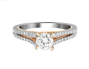 Complete Rings White Gold with 0.59 CTW Round Diamond Diamond Center Stone Classic Engagement Ring