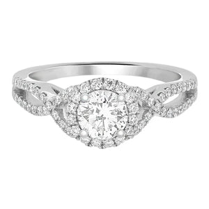 Complete Rings White Gold with 0.52 CTW Round Diamond Diamond Center Stone Halo Engagement Ring