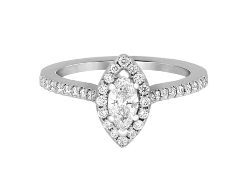 Complete Rings White Gold with 0.45 CTW Marquise Diamond Diamond Center Stone Halo Engagement Ring