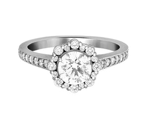 Complete Rings White Gold with 0.58 CTW Round Diamond Diamond Center Stone Halo Engagement Ring