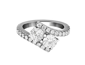 Complete Rings White Gold with 1.45 CTW Round Diamond Diamond Center Stone Classic Engagement Ring