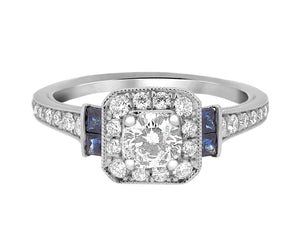 Complete Rings White Gold with 0.42 CTW Round Diamond Diamond Center Stone Halo Engagement Ring