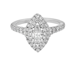 Complete Rings White Gold with 0.37 CTW Marquise Diamond Diamond Center Stone Halo Engagement Ring