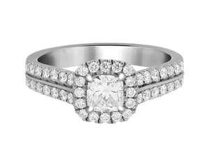 Complete Rings White Gold with 0.43 CTW Cushion Diamond Diamond Center Stone Halo Engagement Ring