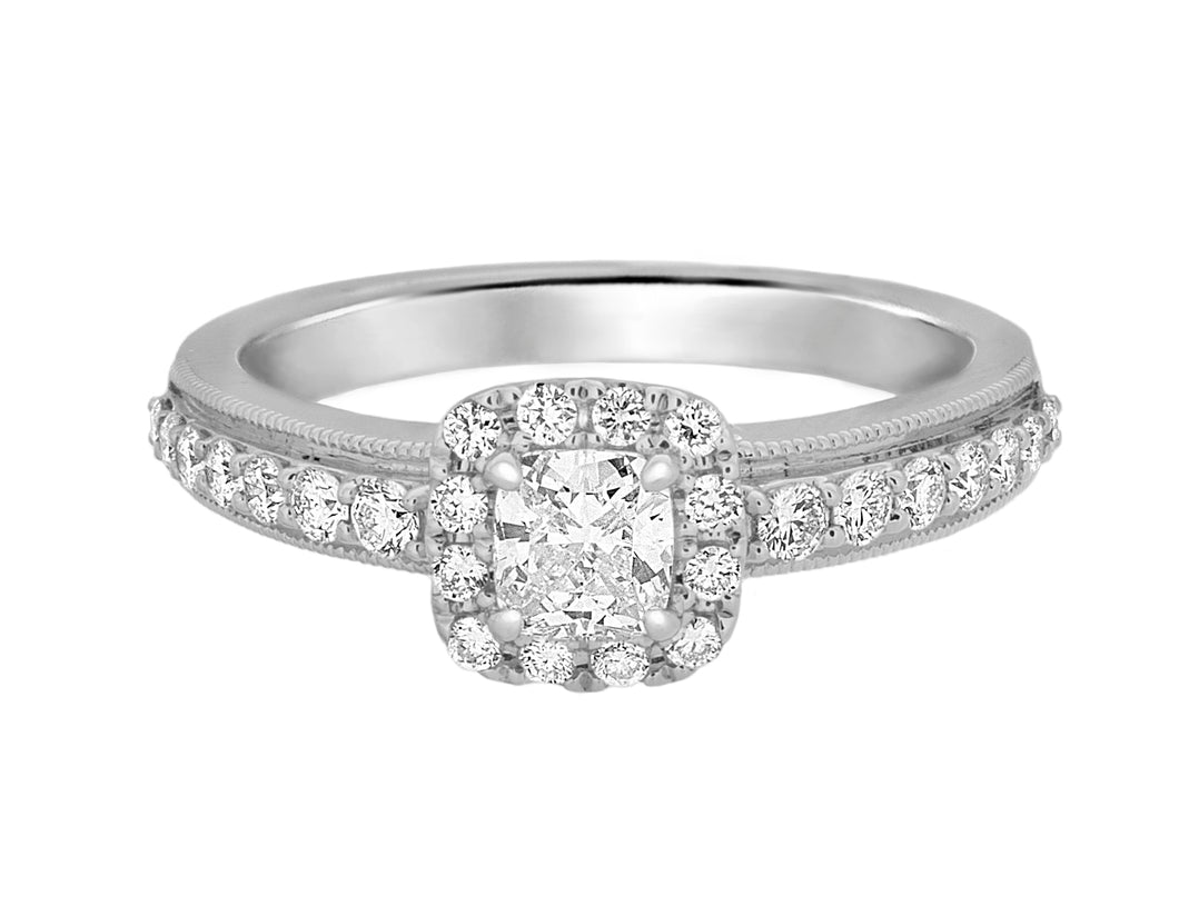 Complete Rings White Gold with 0.38 CTW Cushion Diamond Diamond Center Stone Halo Engagement Ring