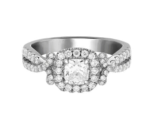 Complete Rings White Gold with 0.46 CTW Cushion Diamond Diamond Center Stone Halo Engagement Ring