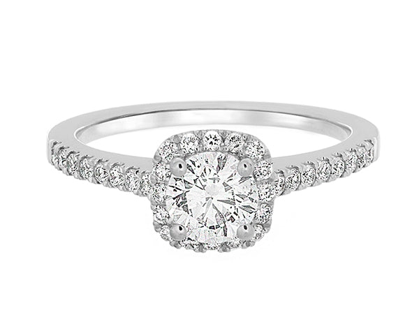 Complete Rings White Gold with 0.57 CTW Round Diamond Diamond Center Stone Halo Engagement Ring