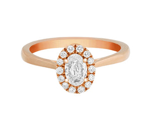 Complete Rings Rose Gold with 0.31 CTW Oval Diamond Diamond Center Stone Halo Engagement Ring