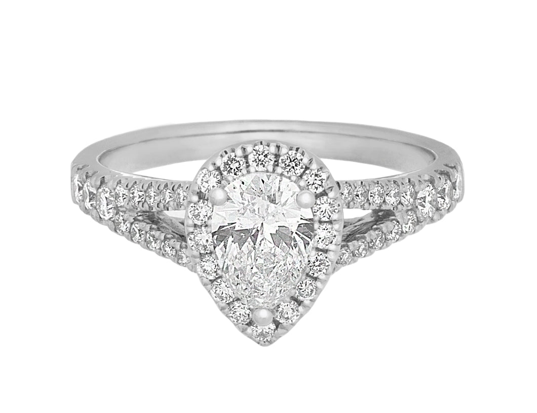 Complete Rings White Gold with 0.58 CTW Pear Diamond Diamond Center Stone Halo Engagement Ring