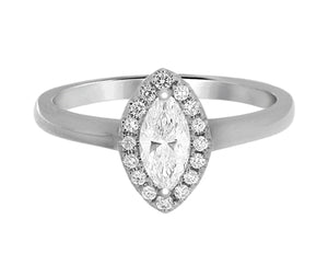 Complete Rings White Gold with 0.36 CTW Marquise Diamond Diamond Center Stone Halo Engagement Ring