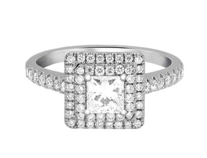 Complete Rings White Gold with 0.51 CTW Princess Diamond Diamond Center Stone Halo Engagement Ring
