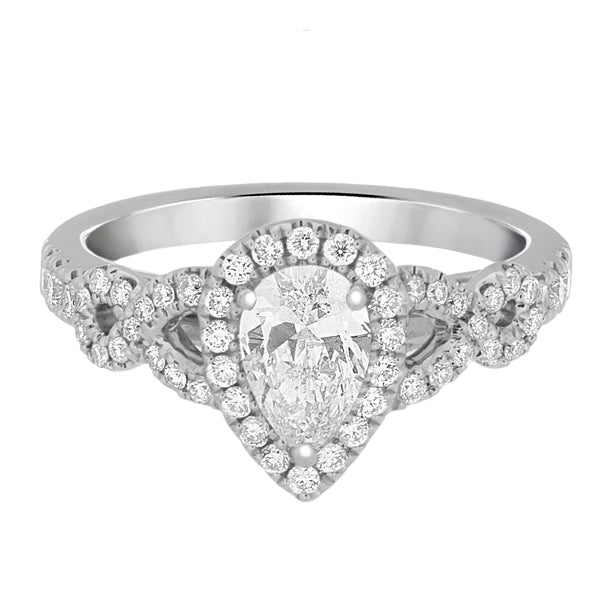 Complete Rings White Gold with 0.5 CTW Pear Diamond Diamond Center Stone Halo Engagement Ring