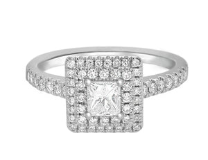 Complete Rings White Gold with 0.32 CTW Princess Diamond Diamond Center Stone Halo Engagement Ring