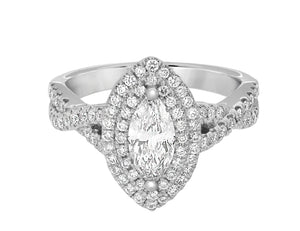 Complete Rings White Gold with 0.51 CTW Marquise Diamond Diamond Center Stone Halo Engagement Ring