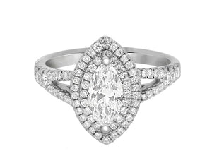 Complete Rings White Gold with 0.63 CTW Marquise Diamond Diamond Center Stone Halo Engagement Ring