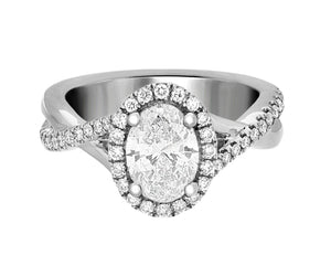 Complete Rings White Gold with 1.05 CTW Oval Diamond Diamond Center Stone Classic Engagement Ring