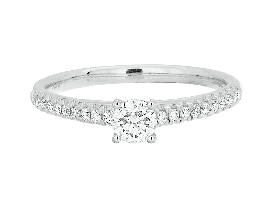 Complete Rings White Gold with 0.25 CTW Round Diamond Diamond Center Stone Classic Engagement Ring
