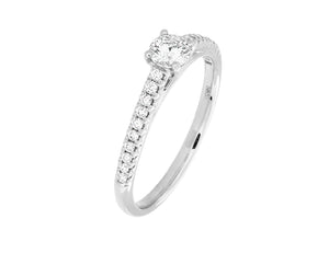 Complete Rings White Gold with 0.24 CTW Round Diamond Diamond Center Stone Classic Engagement Ring
