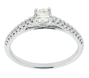 Complete Rings White Gold with .25 CTW Round Diamond Diamond Center Stone Classic Engagement Ring