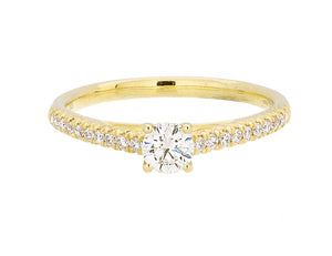Complete Rings Yellow Gold with 0.24 CTW Round Diamond Diamond Center Stone Classic Engagement Ring