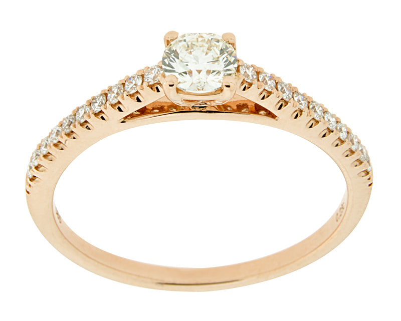 Complete Rings Rose Gold with .23 CTW Round Diamond Diamond Center Stone Classic Engagement Ring