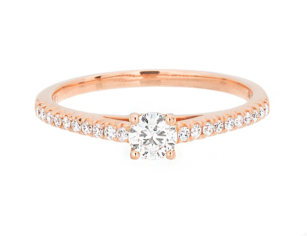 Complete Rings Rose Gold with 0.23 CTW Round Diamond Diamond Center Stone Classic Engagement Ring