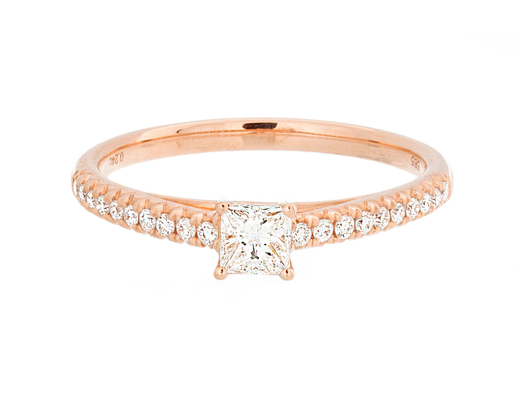 Complete Rings Rose Gold with 0.24 CTW Princess Diamond Diamond Center Stone Classic Engagement Ring