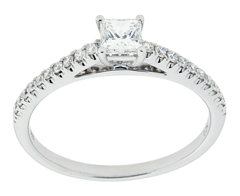 Complete Rings White Gold with .25 CTW Princess Diamond Diamond Center Stone Classic Engagement Ring