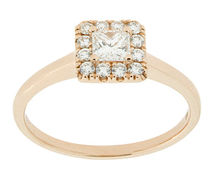 Complete Rings Rose Gold with .24 CTW Princess Diamond Diamond Center Stone Halo Engagement Ring
