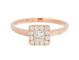 Complete Rings Rose Gold with 0.23 CTW Princess Diamond Diamond Center Stone Halo Engagement Ring