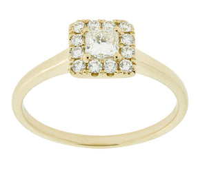 Complete Rings Yellow Gold with .24 CTW Princess Diamond Diamond Center Stone Halo Engagement Ring
