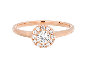 Complete Rings Rose Gold with 0.24 CTW Round Diamond Diamond Center Stone Halo Engagement Ring