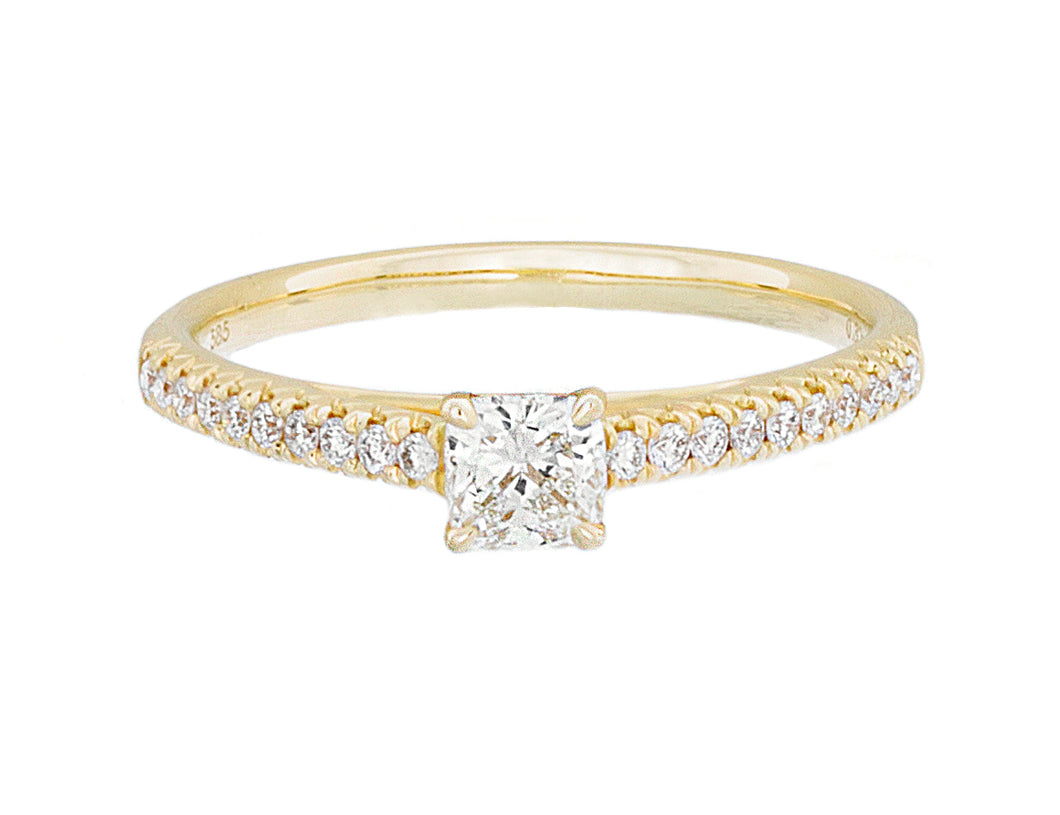 Complete Rings Yellow Gold with 0.3 CTW Cushion Diamond Diamond Center Stone Classic Engagement Ring